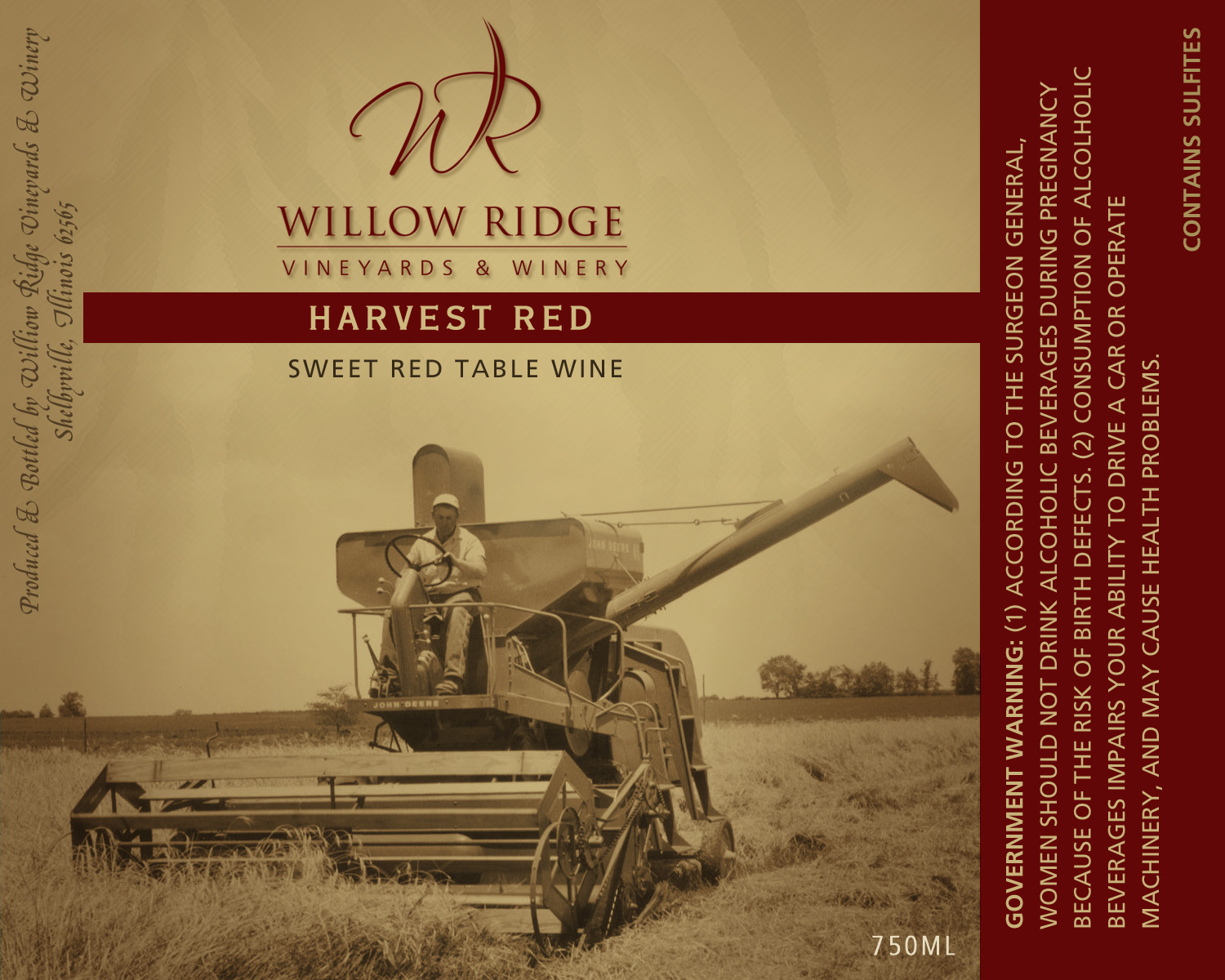 Willow Ridge Winery Harvest Red Wine