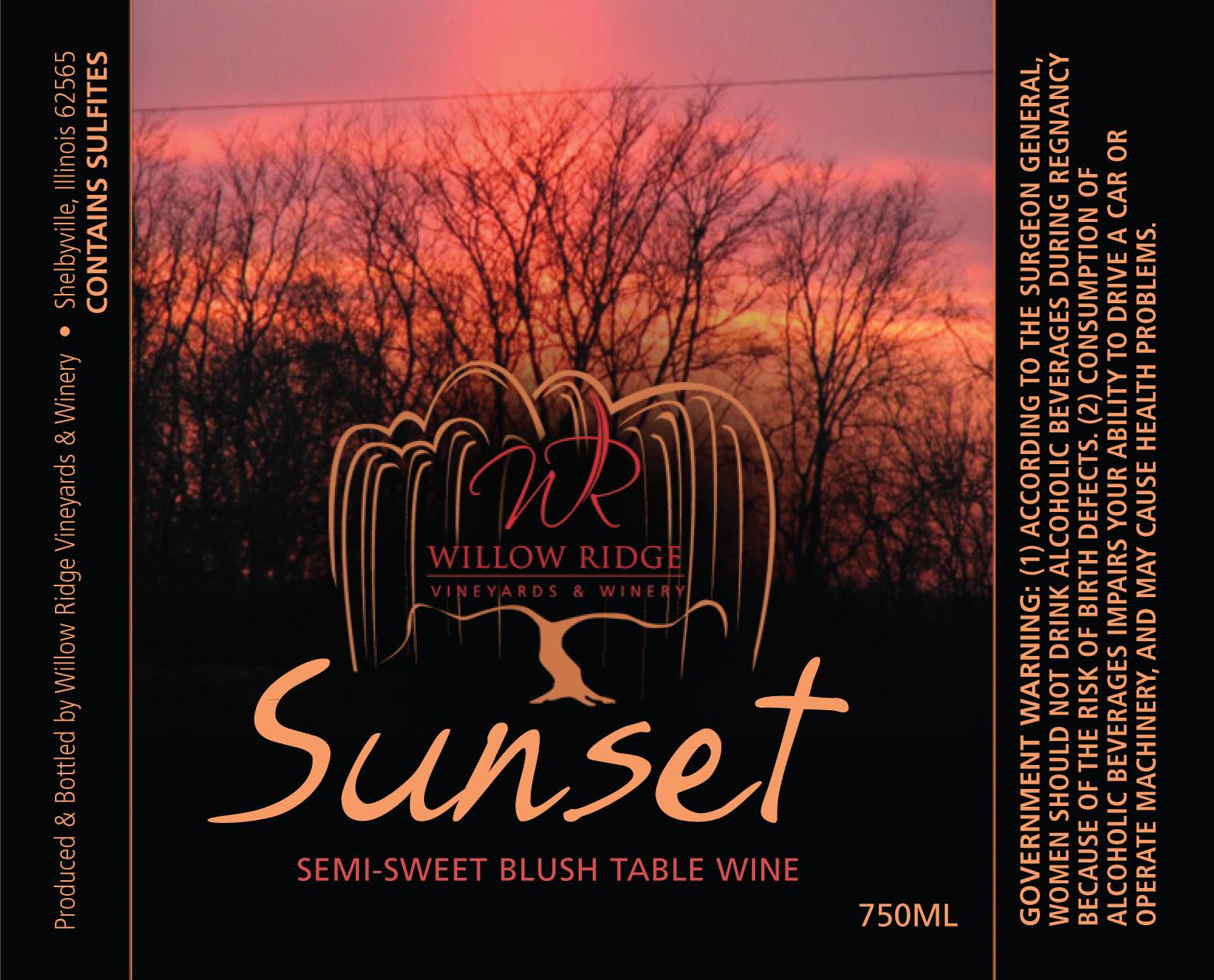Willow Ridge Winery Sunset Wine
