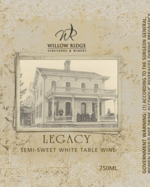 Willow Ridge Winery Legacy Wine
